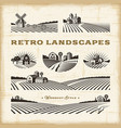 retro landscapes set vector image