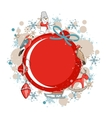 Round red frame with Christmas decor vector image vector image
