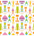 seamless pattern with cute robots on white vector image vector image