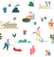 seamless pattern with gardening people planting vector image