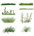 set cartoon green grass silhouettes on white vector image vector image
