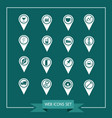 set of map pointer icons for website and vector image
