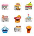 set street fair outdoor market stalls shops vector image