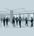 silhouettes of businesspeople in office vector image vector image