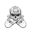 skateboarder skull without jaw vector image vector image