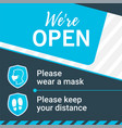 square banner we re open printable and social vector image vector image
