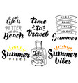 summer holidays typography set summer travel vector image