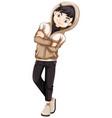 teenage boy in brown hood vector image