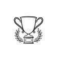 trophy cup with laurel wreath hand drawn outline vector image vector image