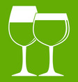 two glasses of wine icon green vector image vector image