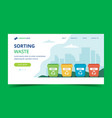 waste sorting landing page with different colorful vector image vector image