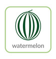 watermelon icon green outline flat sign isolated vector image vector image