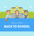 welcome back to school banner template cute kids vector image