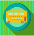 Yellow bus on green striped background vector image