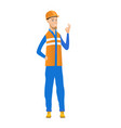 young caucasian builder showing ok sign vector image vector image