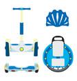 set of modern eco vehicles monowheel unicycle vector image