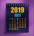 2019 calendar template vector image vector image