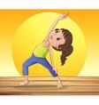 A smiling girl doing yoga vector image vector image