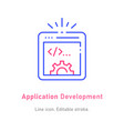application development line icon on white vector image