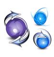 arrows circling blue balls vector image vector image