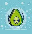 avocado cute fruits cartoons vector image vector image