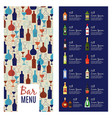 bar menu template vector image vector image
