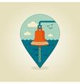 Bell marine pin map icon Marine Sea vector image vector image