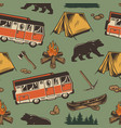 camping vintage colorful seamless pattern vector image vector image
