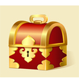 cartoon treasure chest with gold trim vector image