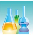 color chemical flasks vector image