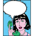 Comic Woman On Phone vector image vector image