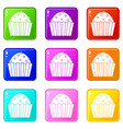 cup cake icons 9 set vector image vector image