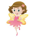 cute girl with yellow wings vector image vector image