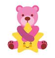 cute pink bear hugging cartoon star vector image