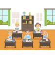 cute school kids in uniform studying at school vector image vector image