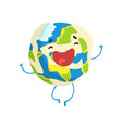 cute smiling cartoon earth planet character vector image vector image