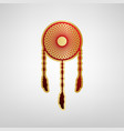 dream catcher sign red icon on gold vector image vector image