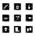 Farming icons set grunge style vector image vector image