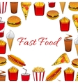 fast food dishes and takeaway drinks poster vector image vector image