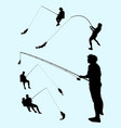 fishing gesture silhouette 01 vector image vector image