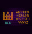 glowing neon line muslim mosque icon isolated