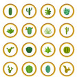 green cactuses icons circle vector image