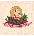 Greeting card happy womens day blonde vector image