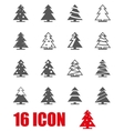 grey christmas tree icon set vector image