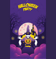 halloween night event party with witch and pumpkin vector image
