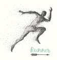 Hand drawn runner silhouette running man run vector image