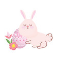 happy easter cute rabbit with flowers and egg vector image vector image