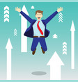 happy jumping businessman among upward arrows vector image vector image