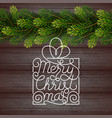 holiday gift card with hand lettering merry vector image vector image