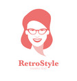 icon smiling woman with glasses in retro style vector image